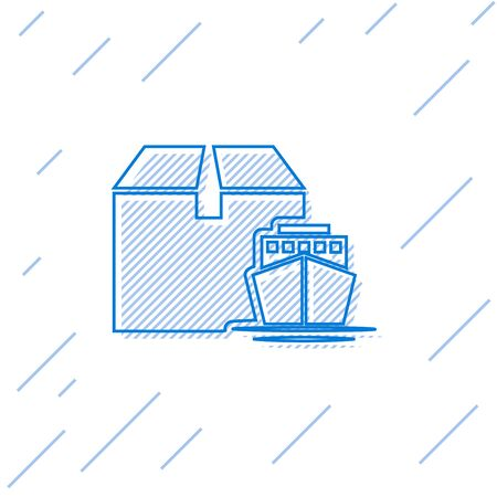 Blue line Cargo ship with boxes delivery service icon isolated on white background. Delivery, transportation. Freighter with parcels, boxes, goods. Vector Illustration