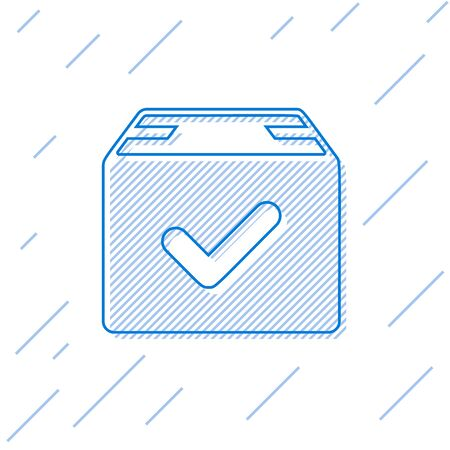 Blue line Package box with check mark icon isolated on white background. Parcel box with checkmark. Approved delivery or successful package receipt. Vector Illustration