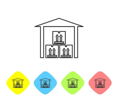 Grey line Warehouse icon on white background. Set icons in color rhombus buttons. Vector Illustration