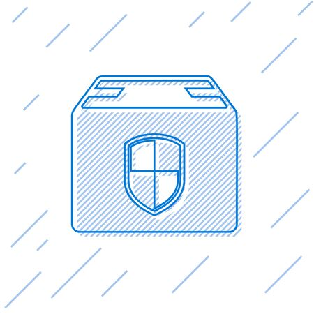 Blue line Delivery pack security symbol with shield icon isolated on white background. Delivery insurance. Insured cardboard boxes beyond the shield. Vector Illustration Illustration