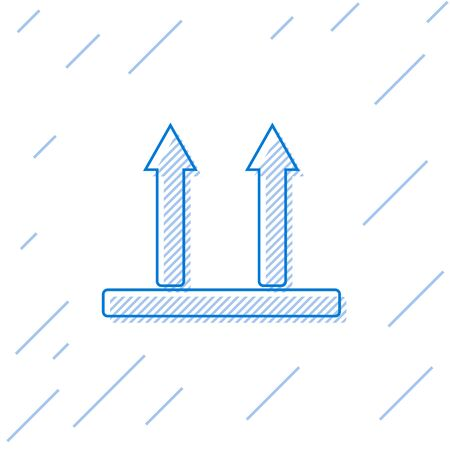 Blue line This side up icon isolated on white background. Two arrows indicating top side of packaging. Cargo handled so these arrows always point up. Vector Illustration