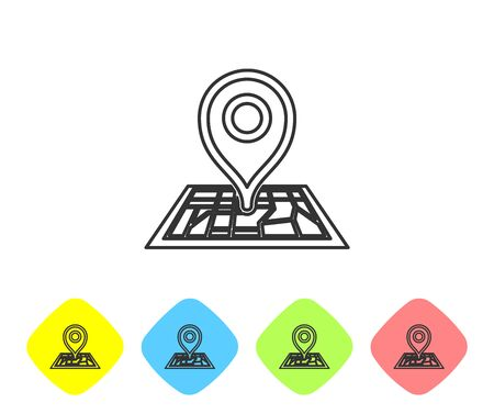 Grey line Placeholder on map paper in perspective icon on white background. Set icons in color rhombus buttons. Vector Illustration
