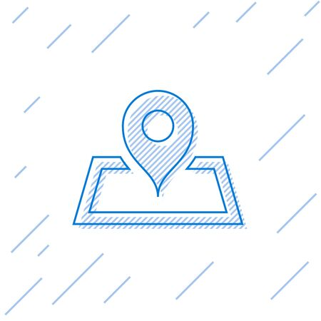 Blue line Placeholder on map paper in perspective icon isolated on white background. Vector Illustration