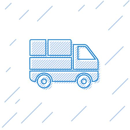 Blue line Delivery truck with cardboard boxes behind icon isolated on white background. Vector Illustration