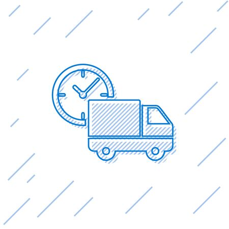 Blue line Logistics delivery truck and clock icon isolated on white background. Delivery time icon. Vector Illustration Stock Vector - 129752468
