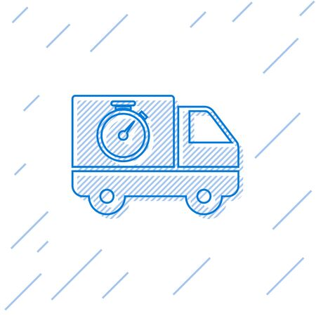 Blue line Logistics delivery truck and stopwatch icon isolated on white background. Delivery time icon. Vector Illustration Stock Vector - 129702719