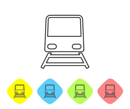 Grey line Train icon isolated on white background. Public transportation symbol. Subway train transport. Metro underground. Set icons in color rhombus buttons. Vector Illustration Ilustração