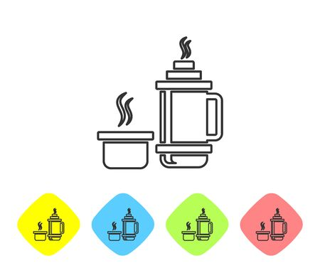 Grey line Thermo container icon isolated on white background. Thermo flask icon. Camping and hiking equipment. Set icons in color rhombus buttons. Vector Illustration Stock Illustratie