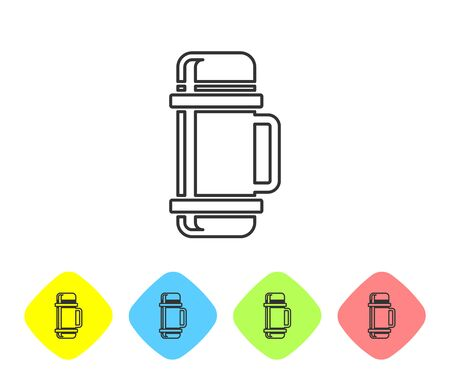 Grey line Thermos container icon isolated on white background. Thermo flask icon. Camping and hiking equipment. Set icons in color rhombus buttons. Vector Illustration Stock Illustratie