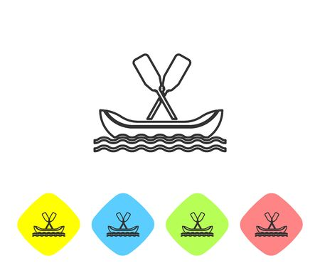 Grey line Rafting boat icon isolated on white background. Kayak with paddles. Water sports, extreme sports, holiday, vacation, team building. Set icons in color rhombus buttons. Vector Illustration Çizim