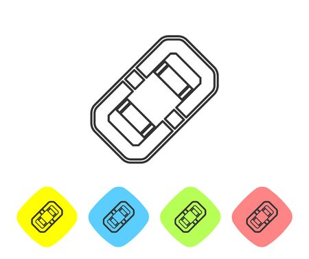 Grey line Rafting boat icon isolated on white background. Inflatable boat. Water sports, extreme sports, holiday, vacation, team building. Set icons in color rhombus buttons. Vector Illustration Çizim