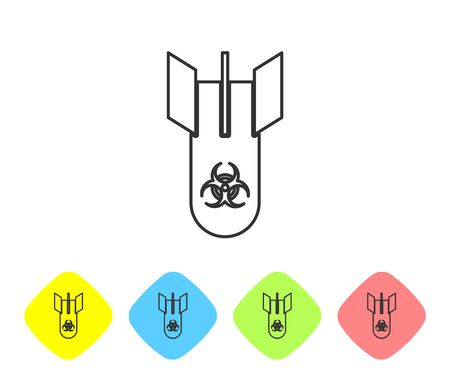 Grey line Biohazard bomb icon isolated on white background. Rocket bomb flies down. Set icons in color rhombus buttons. Vector Illustration