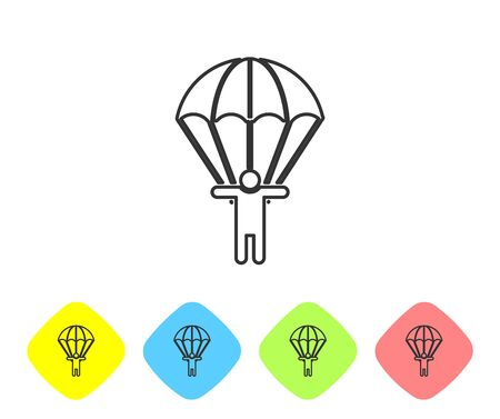 Grey line Parachute and silhouette person icon isolated on white background. Set icons in color rhombus buttons. Vector Illustration