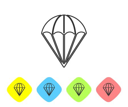 Grey line Parachute icon isolated on white background. Set icons in color rhombus buttons. Vector Illustration Иллюстрация