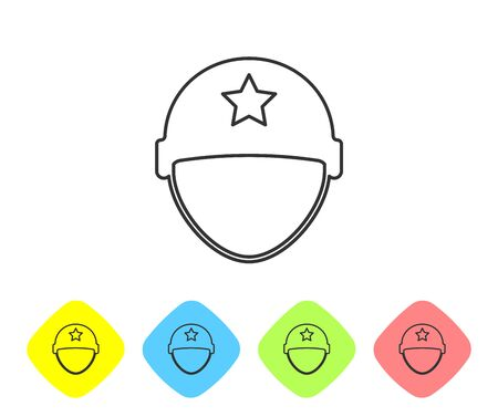 Grey line Military helmet icon isolated on white background. Army hat symbol of defense and protect. Protective hat. Set icons in color rhombus buttons. Vector Illustration  イラスト・ベクター素材