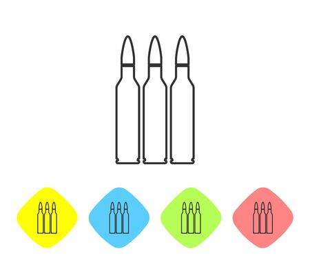 Grey line Bullet icon isolated on white background. Set icons in color rhombus buttons. Vector Illustration Ilustracja