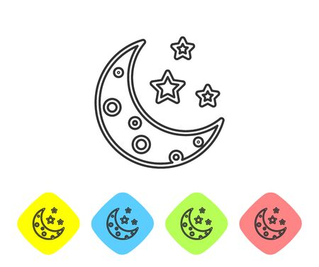 Grey line Moon and stars icon isolated on white background. Set icons in color rhombus buttons. Vector Illustration Illustration