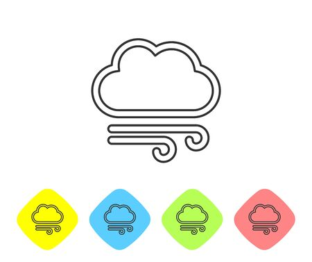 Grey line Windy weather icon isolated on white background. Cloud and wind. Set icons in color rhombus buttons. Vector Illustration Иллюстрация