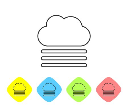 Grey line Fog and cloud icon isolated on white background. Set icons in color rhombus buttons. Vector Illustration Иллюстрация