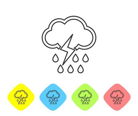 Grey line Cloud with rain and lightning icon isolated on white background. Rain cloud precipitation with rain drops.Weather icon of storm. Set icons in color rhombus buttons. Vector Illustration Illusztráció