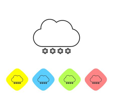 Grey line Cloud with snow icon isolated on white background. Cloud with snowflakes. Single weather icon. Snowing sign. Set icons in color rhombus buttons. Vector Illustration Illusztráció