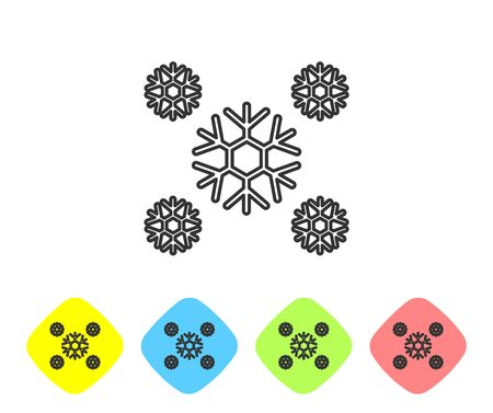 Grey line Snow icon isolated on white background. Set icons in color rhombus buttons. Vector Illustration