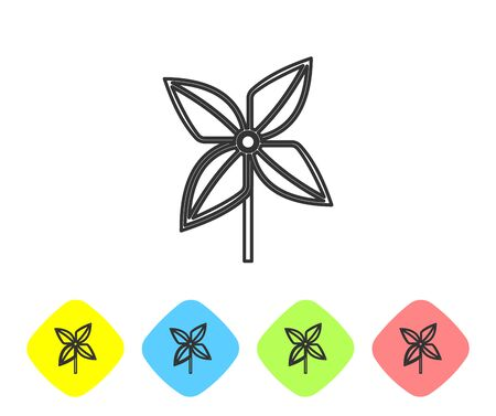 Grey line Pinwheel icon isolated on white background. Windmill toy icon. Set icons in color rhombus buttons. Vector Illustration
