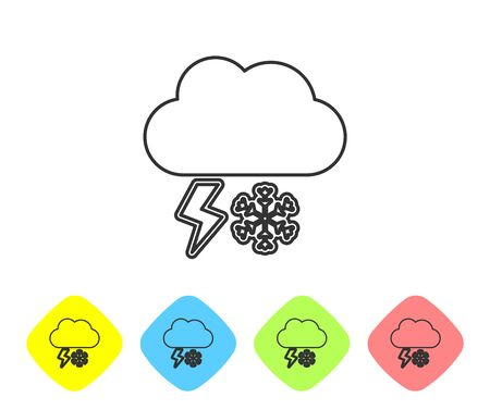 Grey line Cloud with snow and lightning icon isolated on white background. Cloud with snowflakes. Single weather icon. Snowing sign. Set icons in color rhombus buttons. Vector Illustration