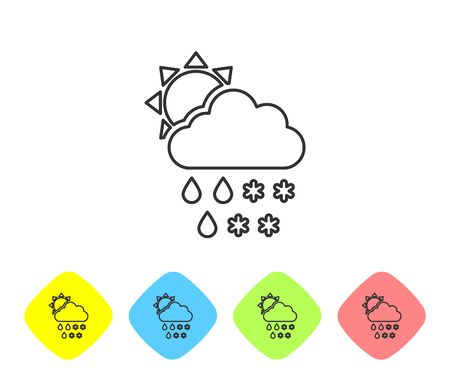 Grey line Cloud with snow and rain icon isolated on white background. Weather icon. Set icons in color rhombus buttons. Vector Illustration Stock fotó - 129719134
