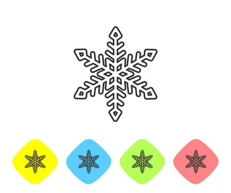 Grey line Snowflake icon isolated on white background. Set icons in color rhombus buttons. Vector Illustration