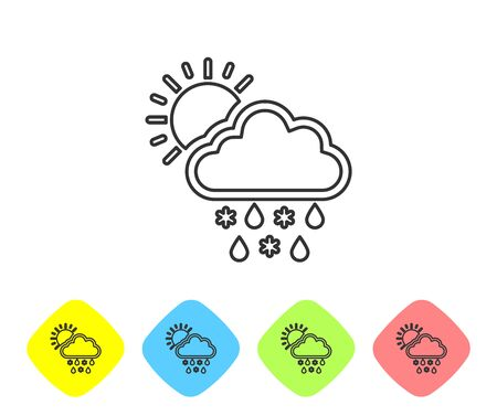 Grey line Cloud with snow, rain and sun icon isolated on white background. Weather icon. Set icons in color rhombus buttons. Vector Illustration Stock fotó - 129717967