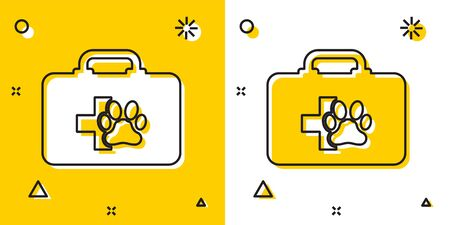 Black Pet first aid kit icon isolated on yellow and white background. Dog or cat paw print. Clinic box. Random dynamic shapes. Vector Illustration