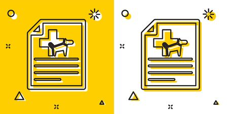 Black Medical certificate for travel with dog or cat icon isolated on yellow and white background. Document for pet. Random dynamic shapes. Vector Illustration