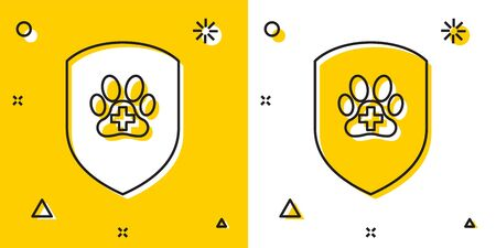 Black Animal health insurance icon isolated on yellow and white background. Pet protection icon. Dog or cat paw print. Random dynamic shapes. Vector Illustration Banque d'images - 129755562