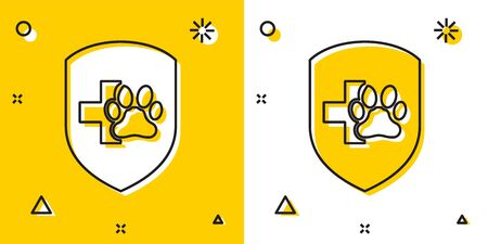 Black Animal health insurance icon isolated on yellow and white background. Pet protection icon. Dog or cat paw print. Random dynamic shapes. Vector Illustration