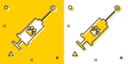 Black Syringe with pet vaccine icon isolated on yellow and white background. Dog or cat paw print. Random dynamic shapes. Vector Illustration Illustration