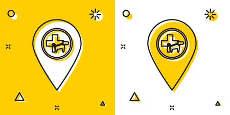 Black Map pointer with veterinary medicine hospital, clinic or pet shop for animals icon isolated on yellow and white background. Vet or veterinarian clinic. Random dynamic shapes. Vector Illustration