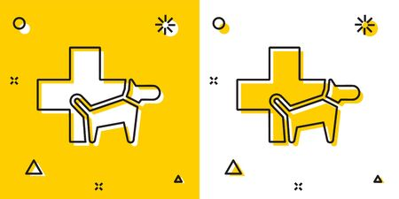 Black Veterinary clinic symbol icon isolated on yellow and white background. Cross with dog veterinary care. Pet First Aid sign. Random dynamic shapes. Vector Illustration