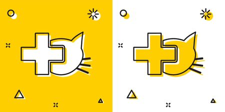 Black Veterinary clinic symbol icon isolated on yellow and white background. Cross with cat veterinary care. Pet First Aid sign. Random dynamic shapes. Vector Illustration