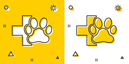Black Veterinary clinic symbol icon isolated on yellow and white background. Cross hospital sign. A stylized paw print dog or cat. Pet First Aid sign. Random dynamic shapes. Vector Illustration Illusztráció