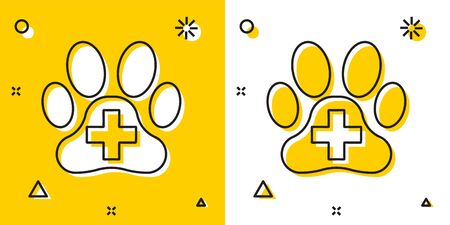 Black Veterinary clinic symbol icon isolated on yellow and white background. Cross hospital sign. A stylized paw print dog or cat. Pet First Aid sign. Random dynamic shapes. Vector Illustration Illustration