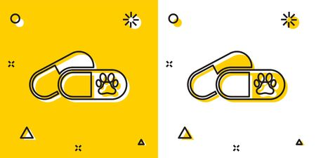 Black Dog and pills icon isolated on yellow and white background. Prescription medicine for animal. Random dynamic shapes. Vector Illustration 向量圖像