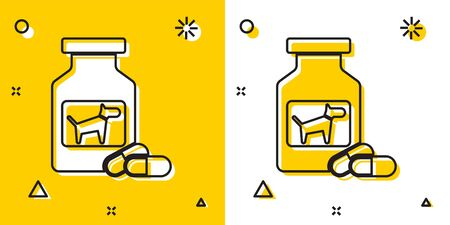 Black Dog medicine bottle and pills icon isolated on yellow and white background. Container with pills. Prescription medicine for animal. Random dynamic shapes. Vector Illustration