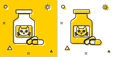 Black Cat medicine bottle and pills icon isolated on yellow and white background. Container with pills. Prescription medicine for animal. Random dynamic shapes. Vector Illustration