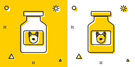 Black Dog medicine bottle icon isolated on yellow and white background. Container with pills. Prescription medicine for animal. Random dynamic shapes. Vector Illustration