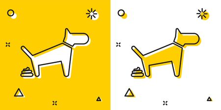 Black Dog pooping icon isolated on yellow and white background. Dog goes to the toilet. Dog defecates. The concept of place for walking pets. Random dynamic shapes. Vector Illustration