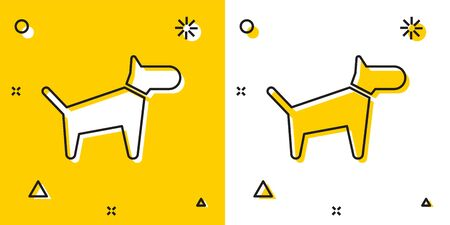 Black Dog icon isolated on yellow and white background. Random dynamic shapes. Vector Illustration Фото со стока - 129755598