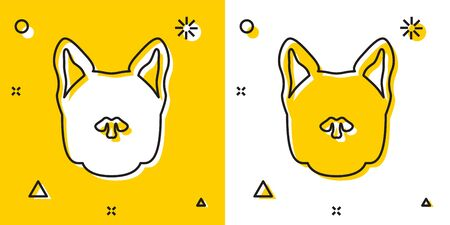Black Dog icon isolated on yellow and white background. Random dynamic shapes. Vector Illustration Иллюстрация