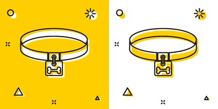 Black Dog collar with name tag and bone plaque icon isolated on yellow and white background. Supplies for domestic animal. Cat and dog care. Pet dog chains. Random dynamic shapes. Vector Illustration Фото со стока - 129755603