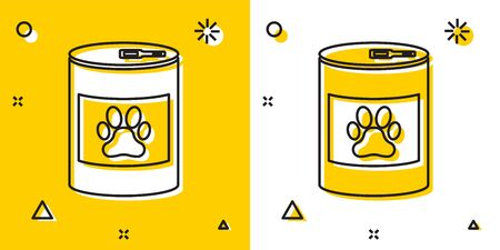 Black Canned food icon isolated on yellow and white background. Food for animals. Pet food can. Dog or cat paw print. Random dynamic shapes. Vector Illustration